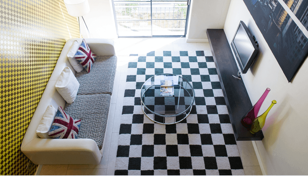 Aerial view of the lounge of Hippo Boutique Hotel's mini suite